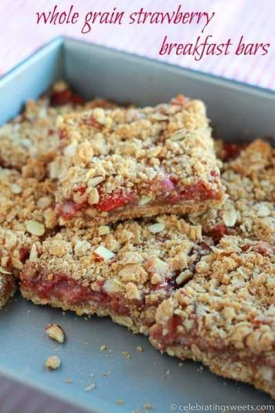 Whole Grain Strawberry Breakfast Bars ~ Delicious & Easy whole grain oat bars filled with strawberries and topped with an almond crumble! Perfect for Breakfast or a Sweet Treat!