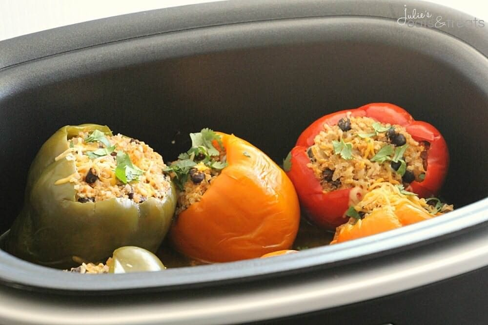 Crock Pot Quinoa Chicken Stuffed Peppers ~ Light & Delicious Peppers Stuffed with Quinoa, Black Beans, Onions, Chicken and Cheese then Slow Cooked to Perfection!