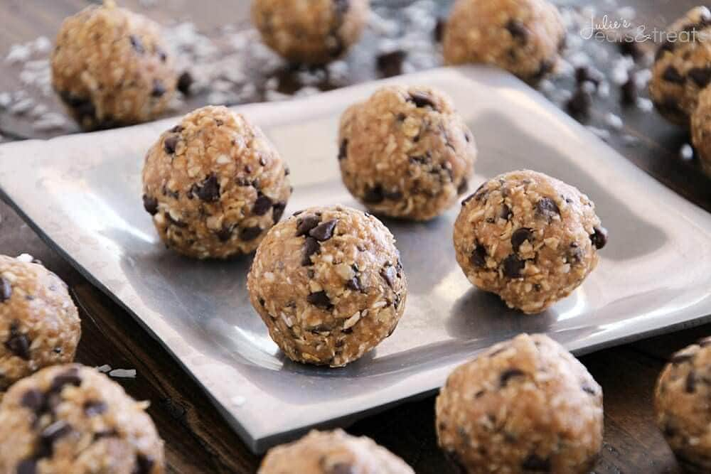 No Bake Energy Bites on Silver Plate