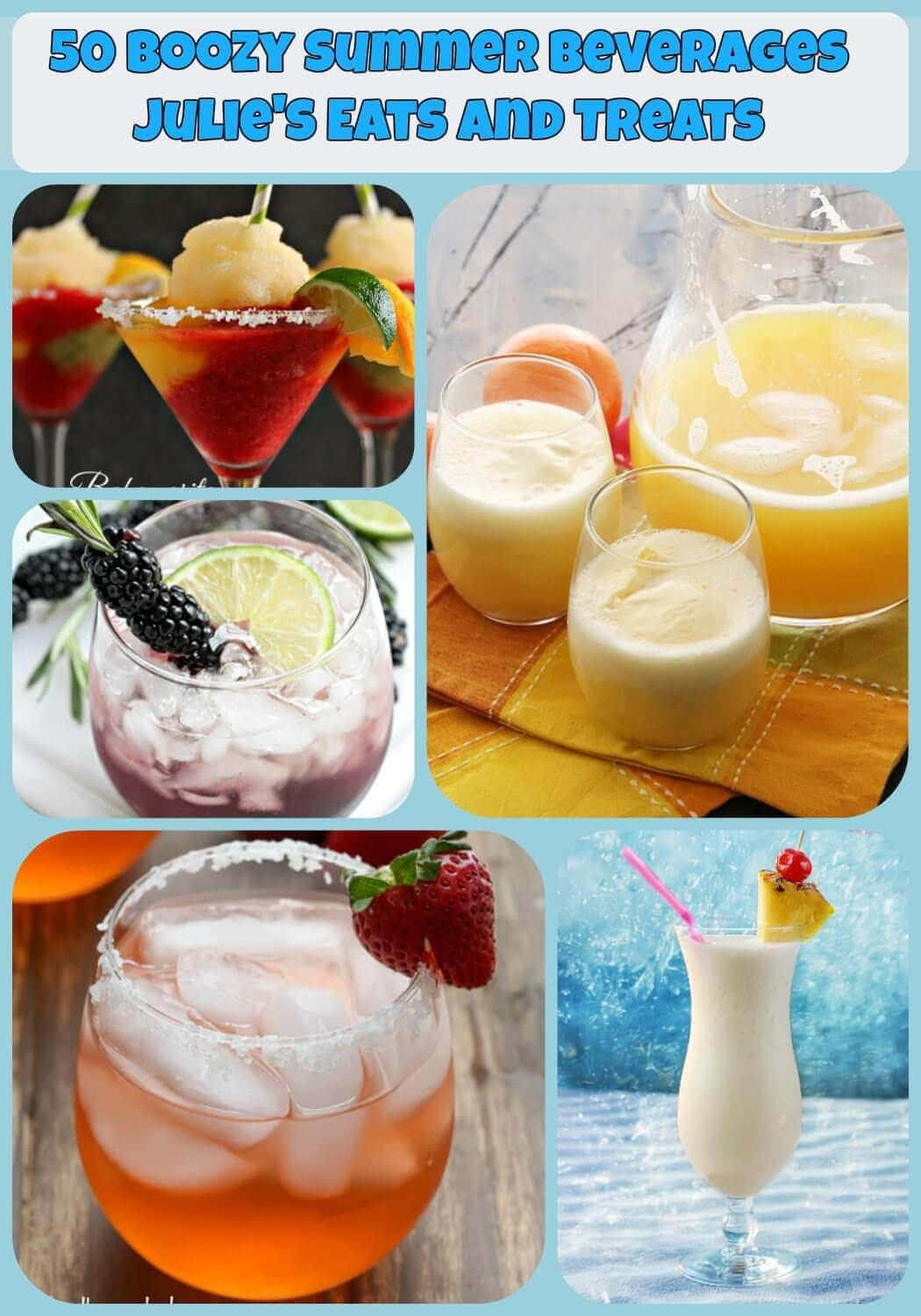50 Boozy Summer Beverages ~ Enjoy the summer with a cold drink in hand! Recipes for everything from Pina Colada to Sangria to Lemonade all spiked with alcohol of course!