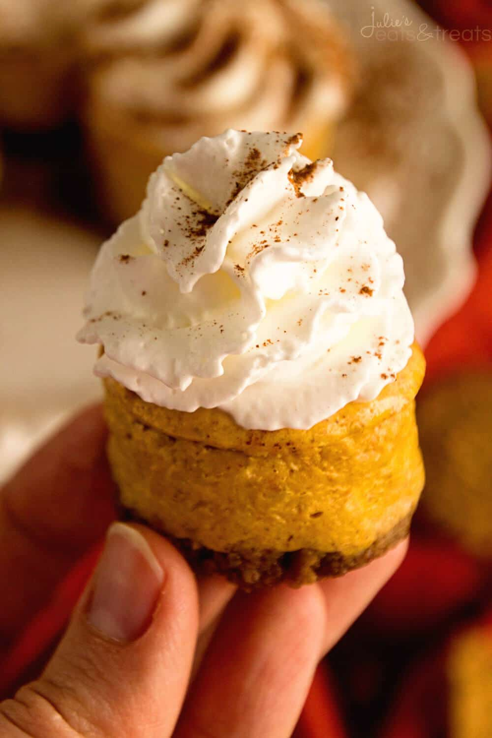 Exceptional Light Mini Pumpkin Cheesecake Recipe ~ Creamy Pumpkin Cheesecake On Top Of  A Gingersnap Crust! Pictures