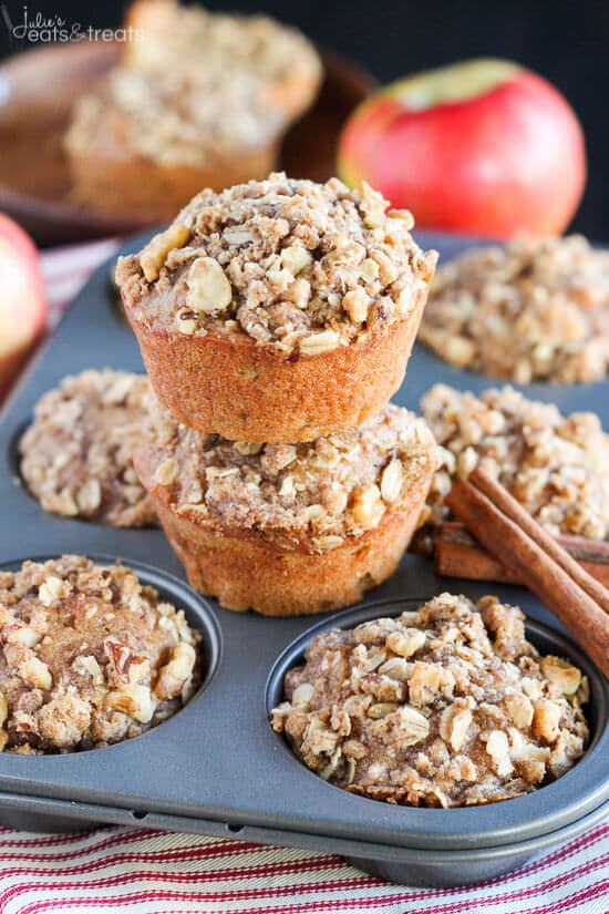 Apple Muffins Recipes stacked on muffin tin