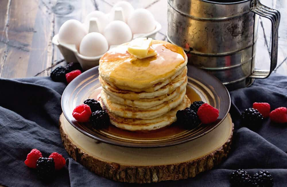 Easy homemade pancakes recipe video julies eats treats easy pancake recipe will have your throwing the box mixed ccuart Images