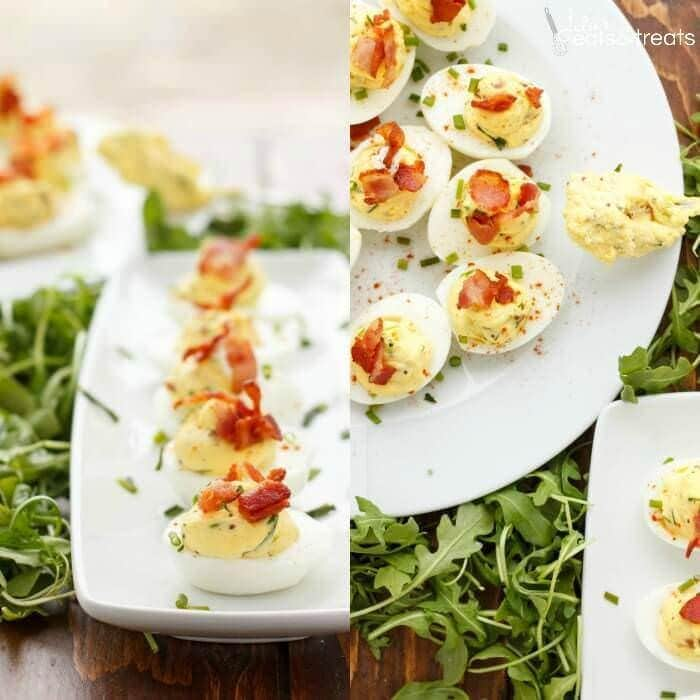 Sour Cream, Chive, and Bacon Deviled Eggs Recipe ~ Creamy Deviled Eggs Loaded with Sour Cream, Chive and Bacon! Perfect Side Dish for the Holiday!