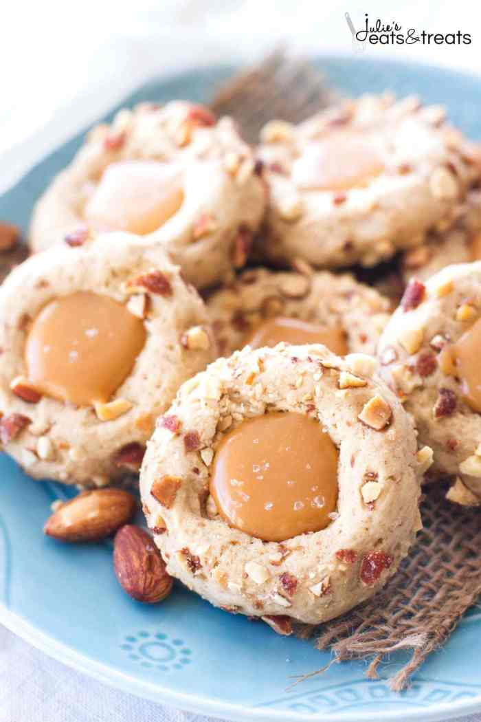 Salted Caramel Almond Thumbprint Cookies ~ Easy, Cookies Are Perfect for Any Holiday Party or Cookie Exchange! Slightly Nutty, Sweet and Incredibly Rich with Salted Caramel Filling!