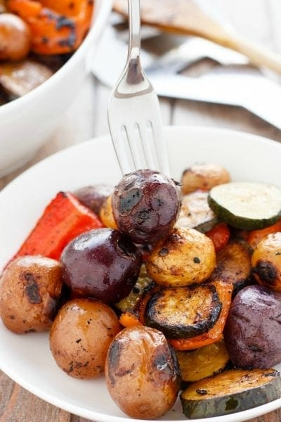 Perfect mix of bbq potatoes and vegetables on the grill