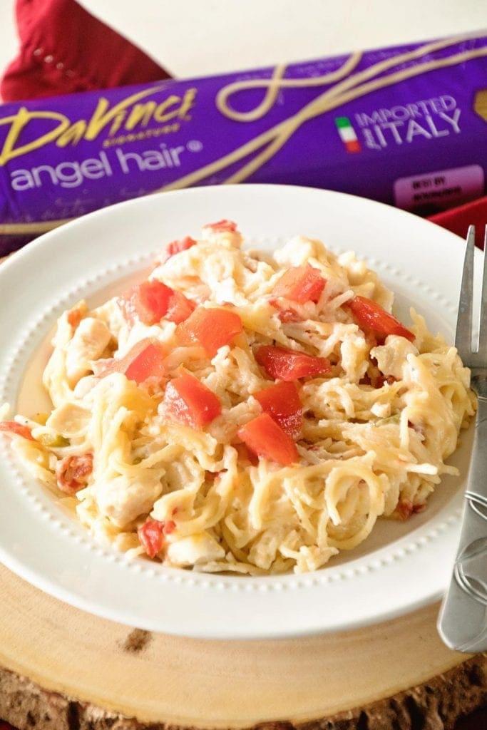 Delicious One Pot Chicken Spaghetti with a Mexican Twist!