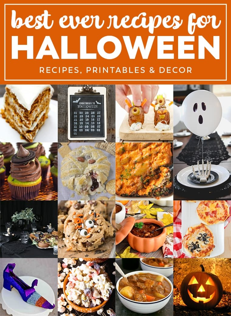 Best Ever Halloween Recipes & Decor! Your one stop shop for Halloween Recipes, from Appetizers to Main Dishes to Desserts, plus Printables and Decor Ideas! Everything You Need to Plan a Halloween Party!