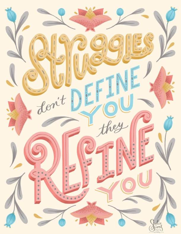 Hand lettering, struggles don't define you