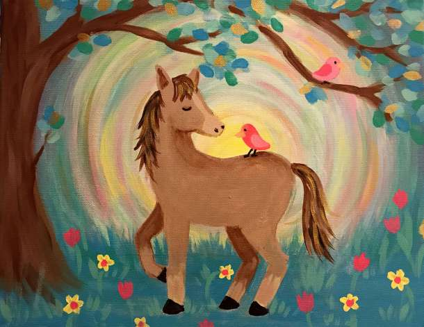 Acrylic horse painting with bird, easy painting, painting party