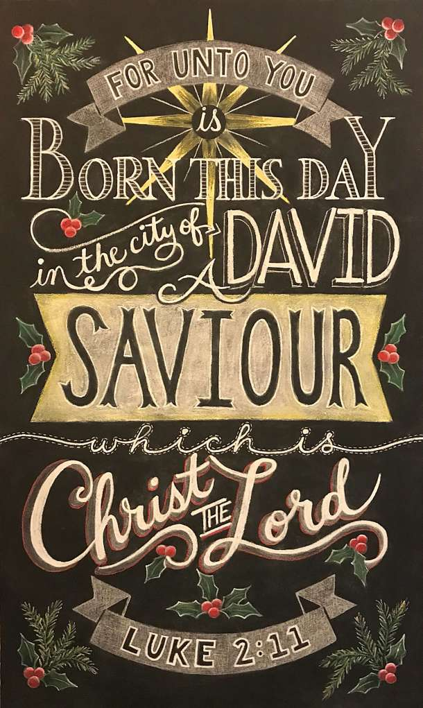 Chalkboard lettering, for unto you is born this day, savior, Christ the Lord