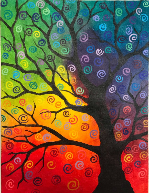 Tree silhouette with colorful background and swirls