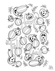 Coloring page, happy fall y'all, pumpkins, jack-o-lanterns