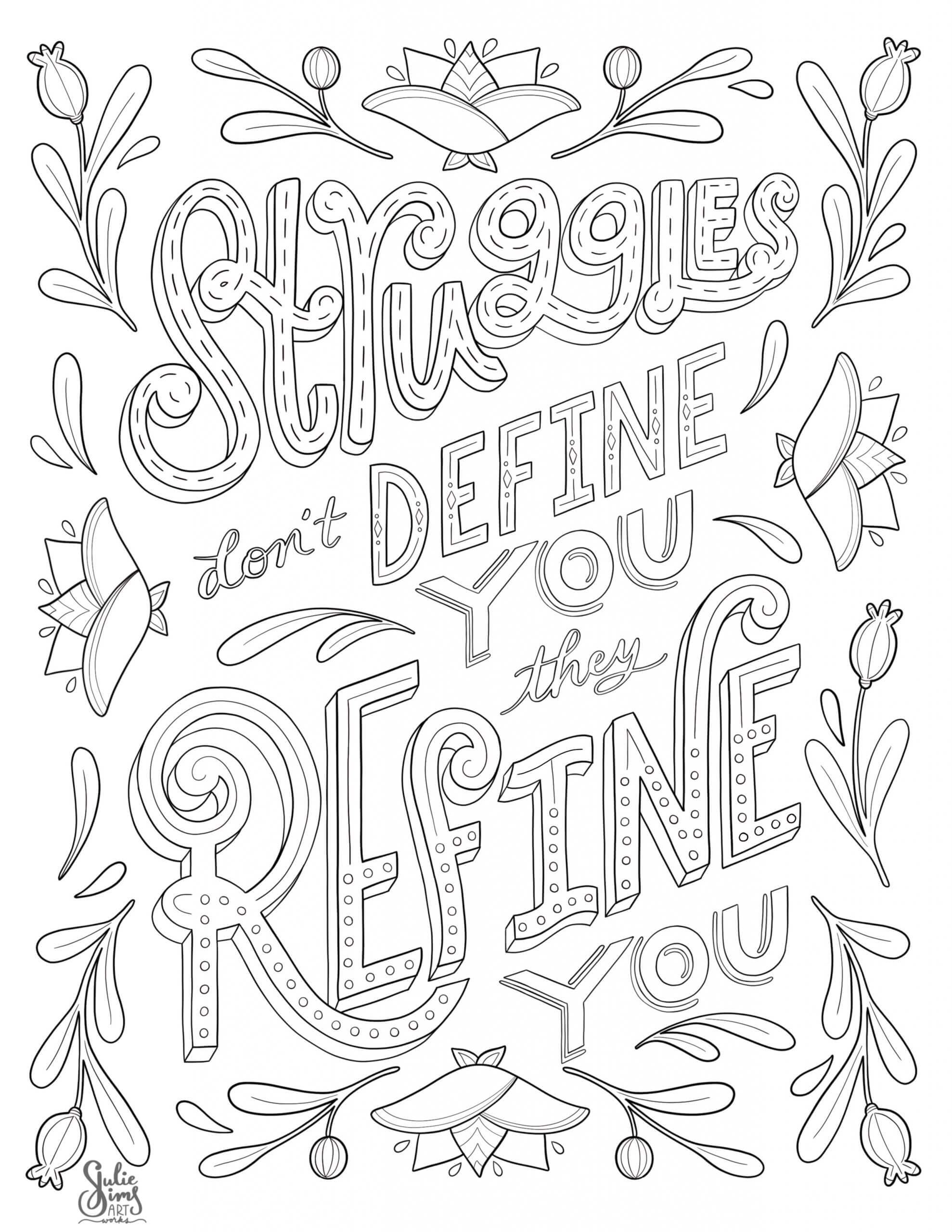 Hand lettering coloring page, struggles don't define you, illustrated lettering
