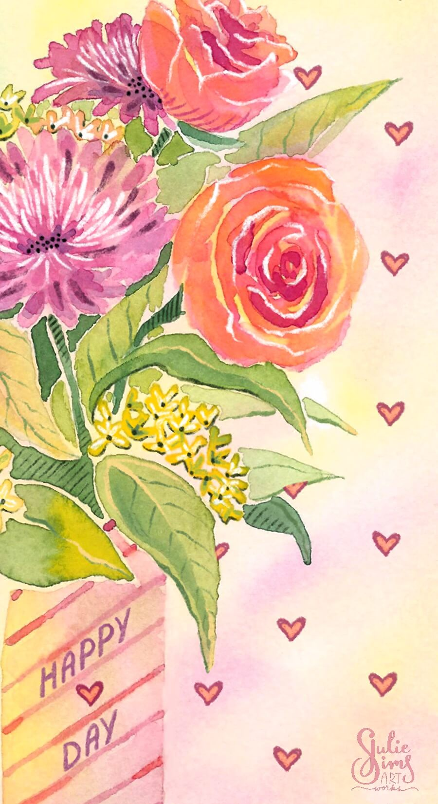 Watercolor flowers, valentine flowers