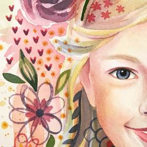 Portrait watercolor painting