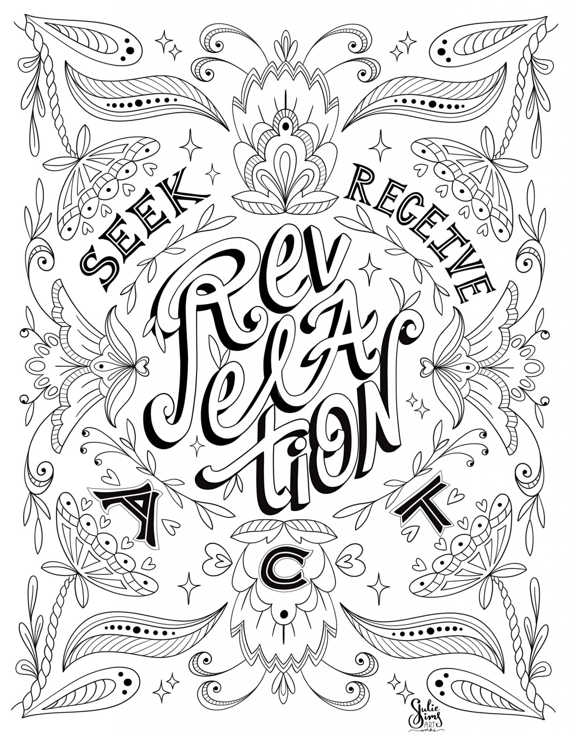 Revelation coloring page, inspiration coloring page, seek, receive, act coloring page