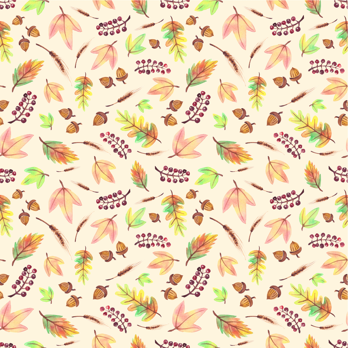Fall leaves, berries and acorns surface pattern