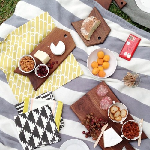 Perfect Picnic Cute Picnic Foods on Gray and White Striped Blanket Cheese Fruits Nuts