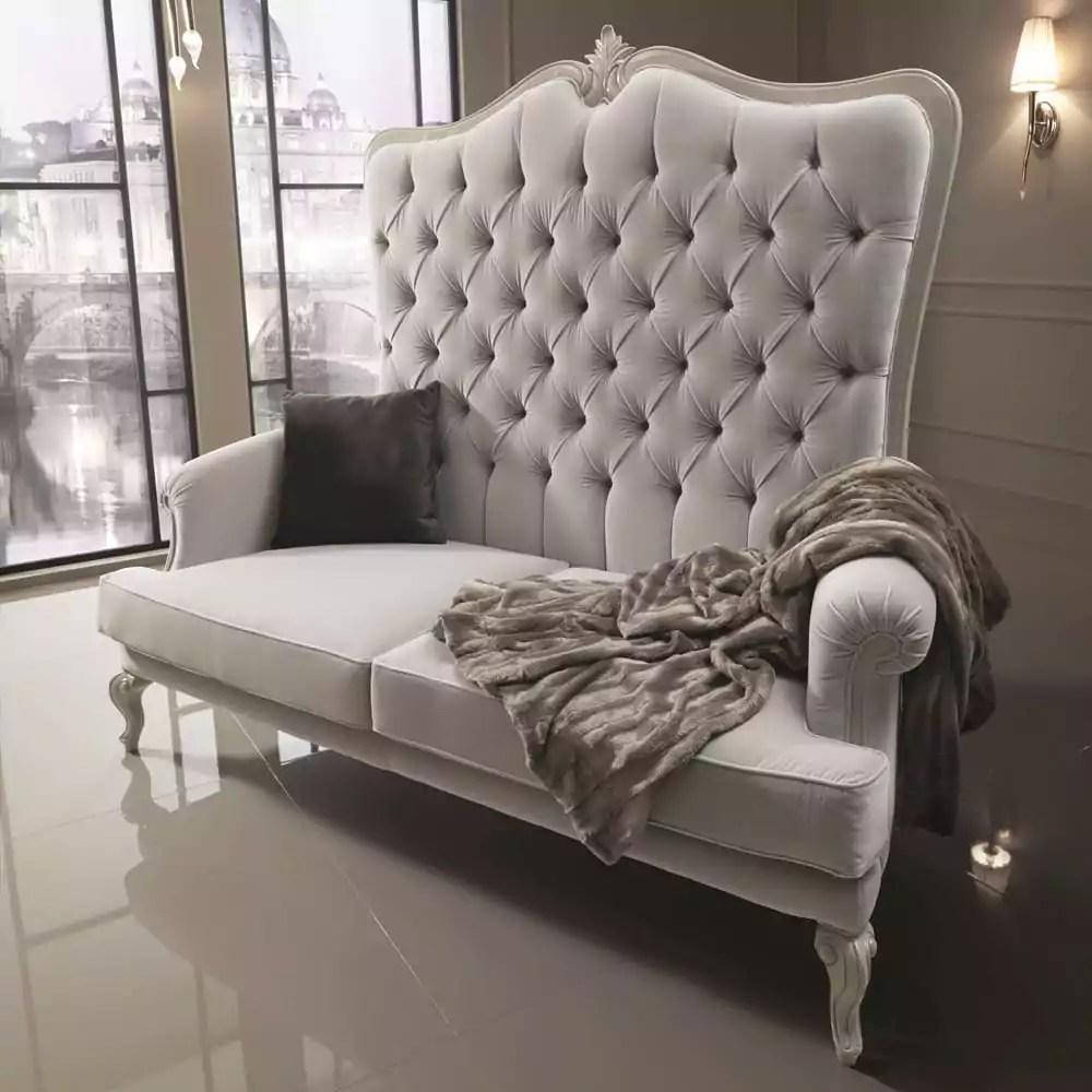 Designer Italian Velvet High Backed Sofa Juliettes Interiors