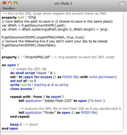 AppleScript --> FLA to PNG