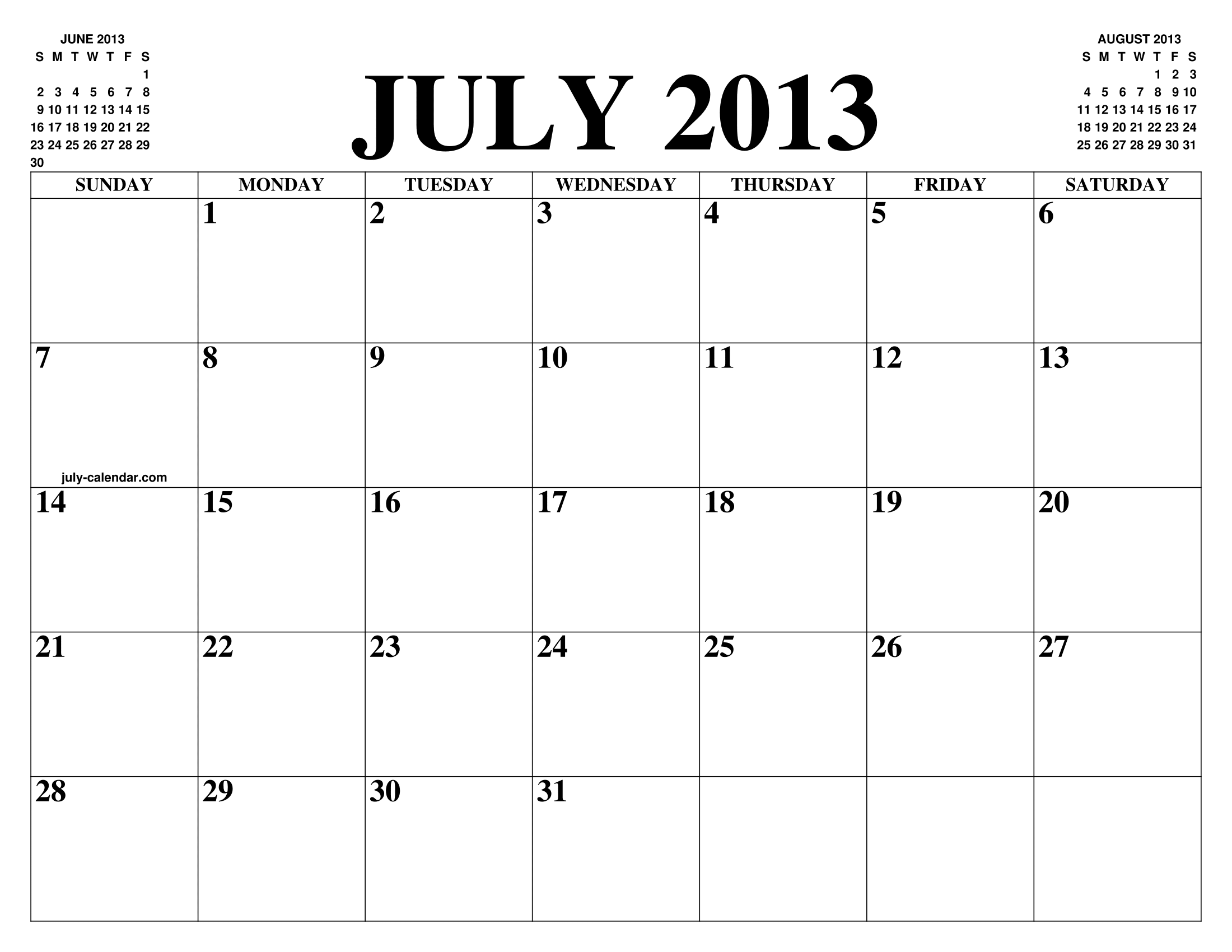 JULY 2013 CALENDAR OF THE MONTH: FREE PRINTABLE JULY ...