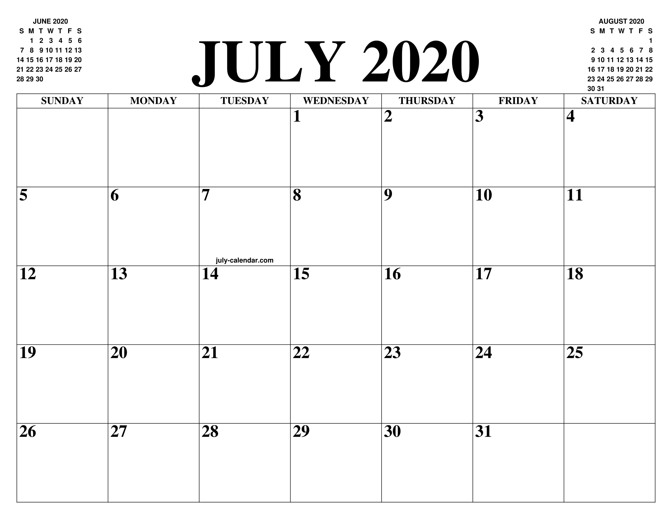 JULY 2020 CALENDAR OF THE MONTH: FREE PRINTABLE JULY 2020 ...