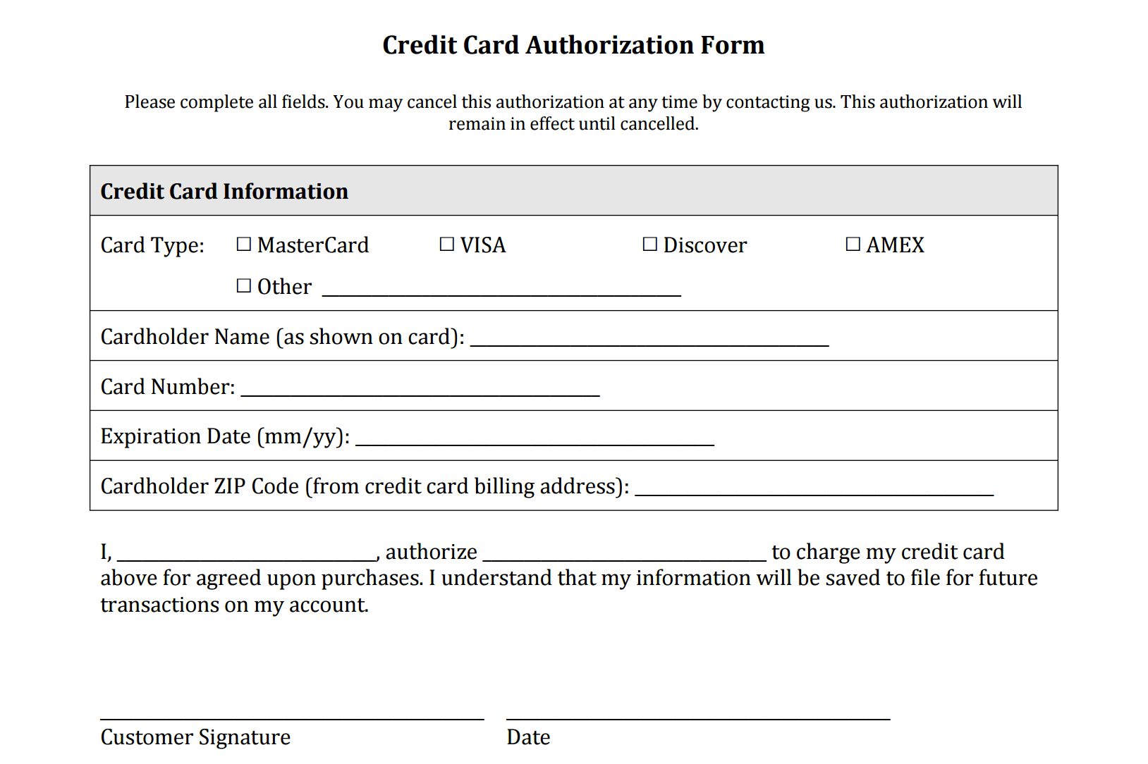 Recurring credit/debit card payment authorization form i authorize the oregon judicial department (ojd) to make recurring charges to my credit/debit card. Credit Card Authorization Form Templates Pdf Square
