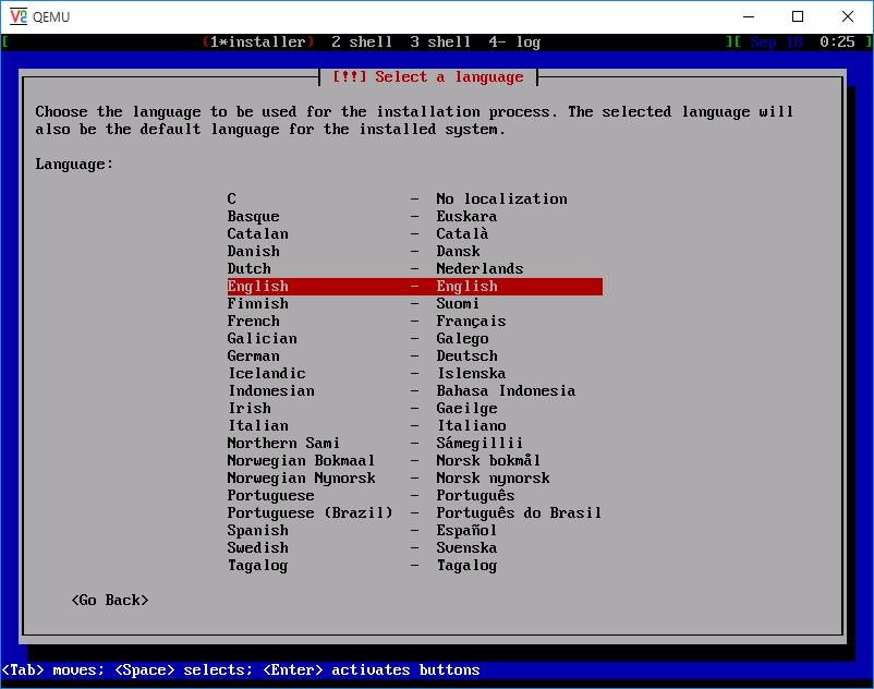 DebianLinuxインストーラの起動完了