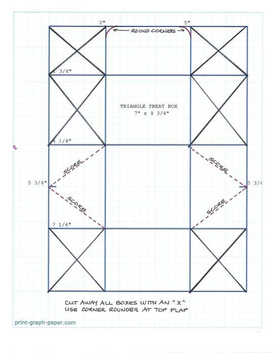 Triangle Treat Box Cutting Diagram