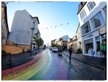 A rainbow street in downtown Reykjavik