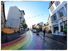 A rainbow street in downtown Reykjavik