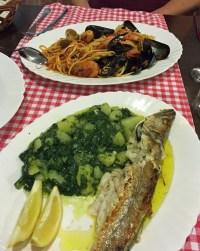 Shellfish pasta, Blitva and fish