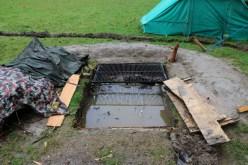 die geflutete Feuerstelle.. bis Freitag sollte sie wieder nutzbar sein