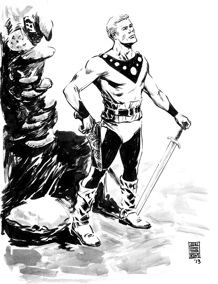 Flash Gordon Redux - Pulp Sketch by Jun Bob Kim
