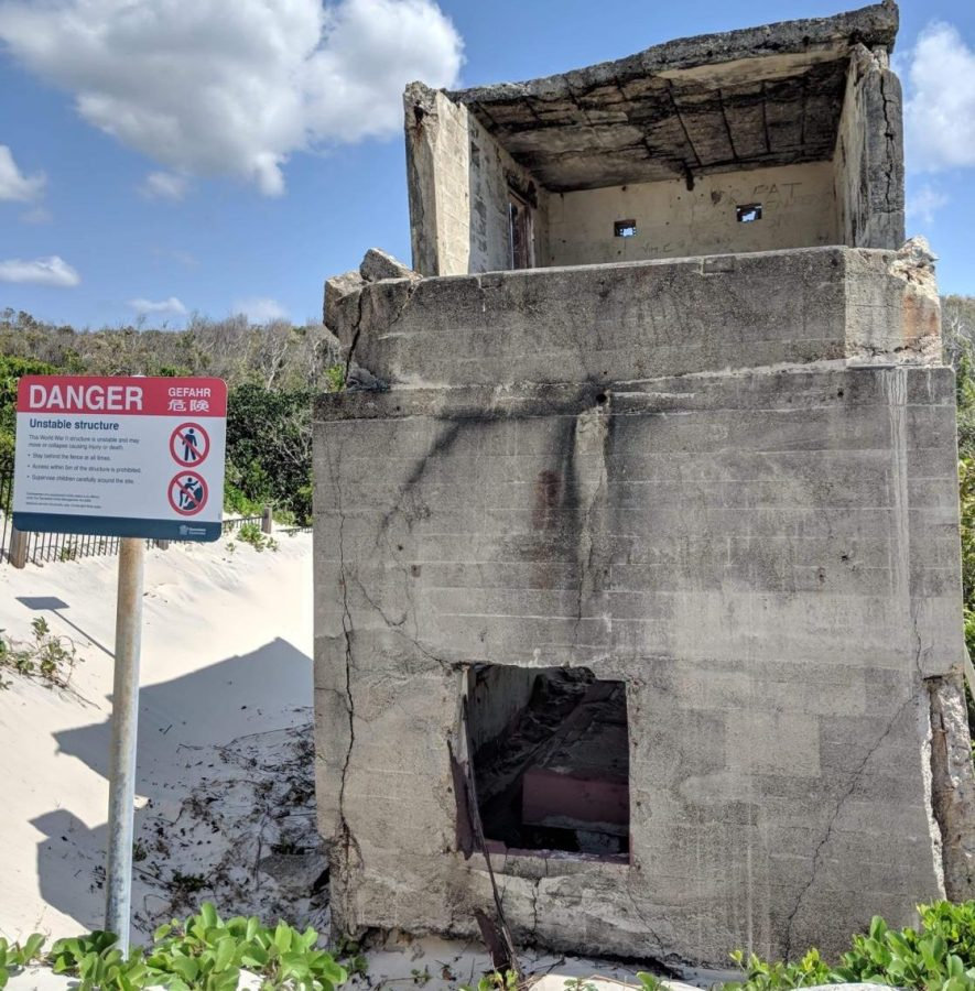 Erosion+and+a+lack+of+maintenance+have+damaged+the+WWII+forts+on+Bribie+Island.+