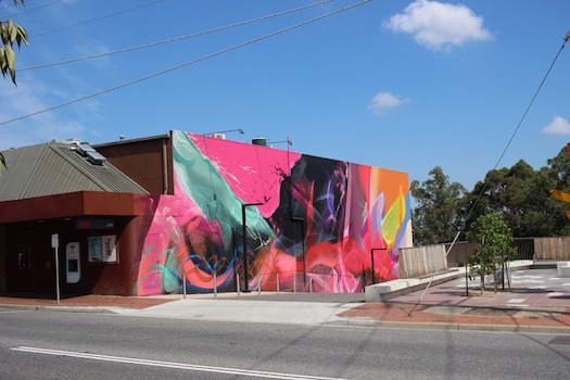 Street art on the side of the art deco Cameo Cinemas in Belgrave, Victoria in the outer metropolitan federal seat of La Trobe. Photo: Zainah Mertakusuma