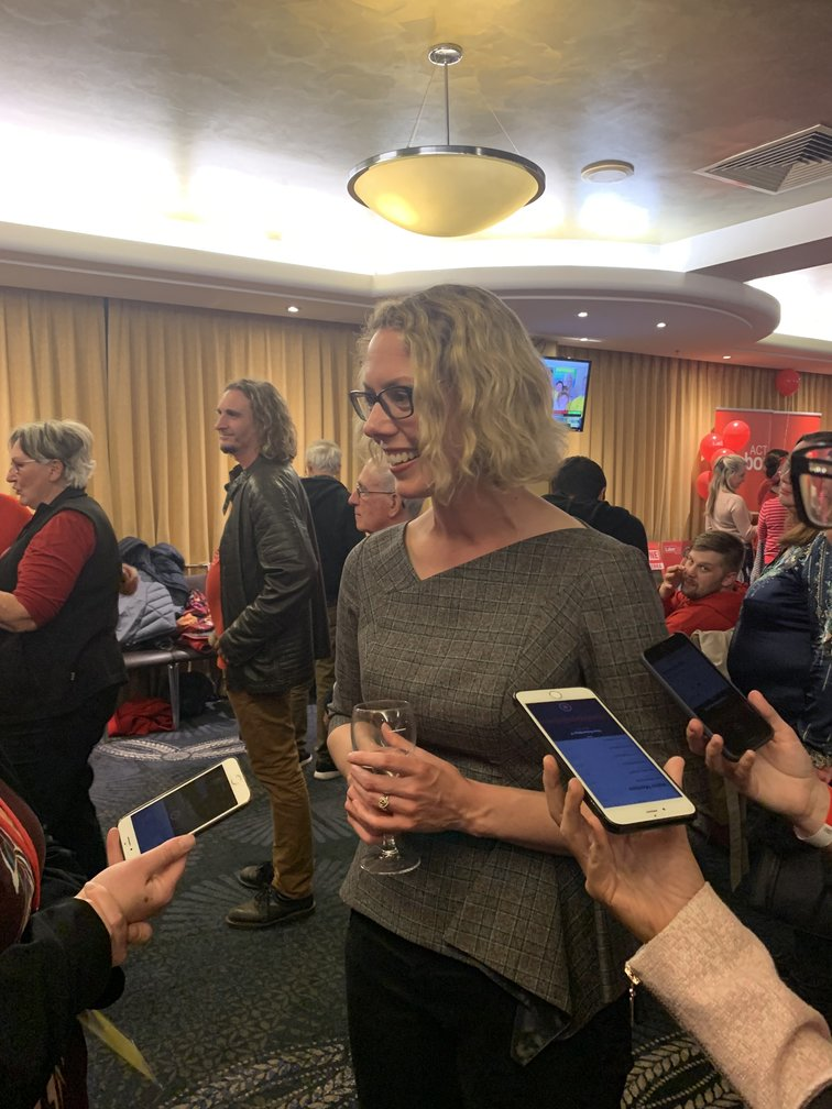 The new member for Canberra, Alicia Payne, speaks to reporters after claiming victory.