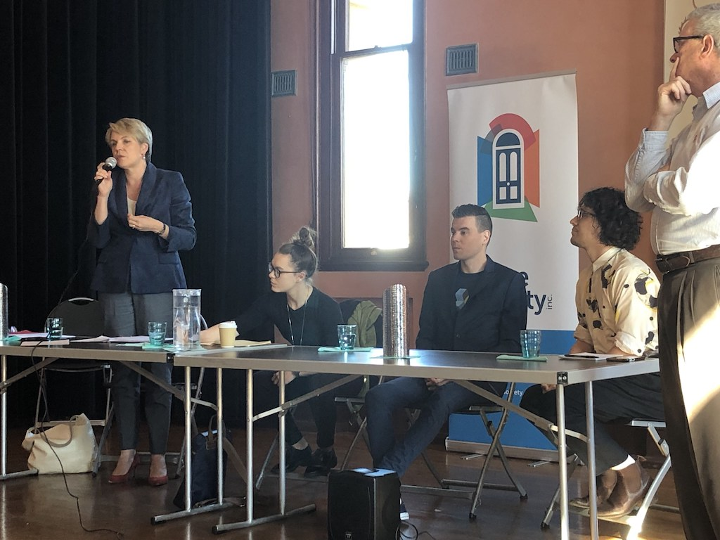 Tanya Plibersek, Jacqui Munro, Aaron Hammond and Matthew Thompson. Photo: Tim Piccione