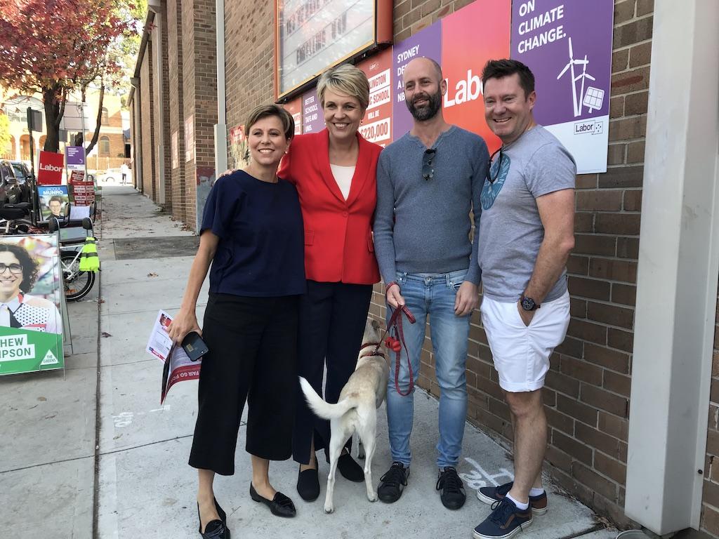 Tanya Plibersek snapped with voters at Darlington School booth. Photo: Maria Gil
