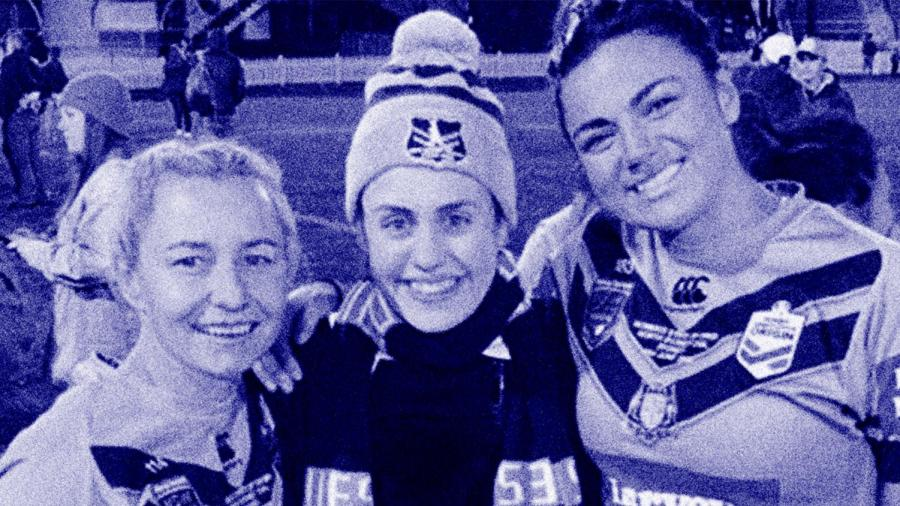 Mary Konstantopoulos at North Sydney Oval with members of the victorious NSW Blues team.