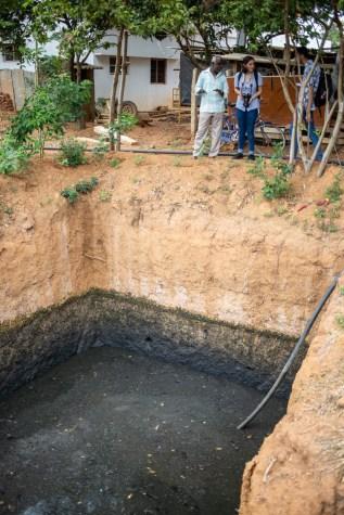 One of the sewage wells on K.V. Muniraju's farm