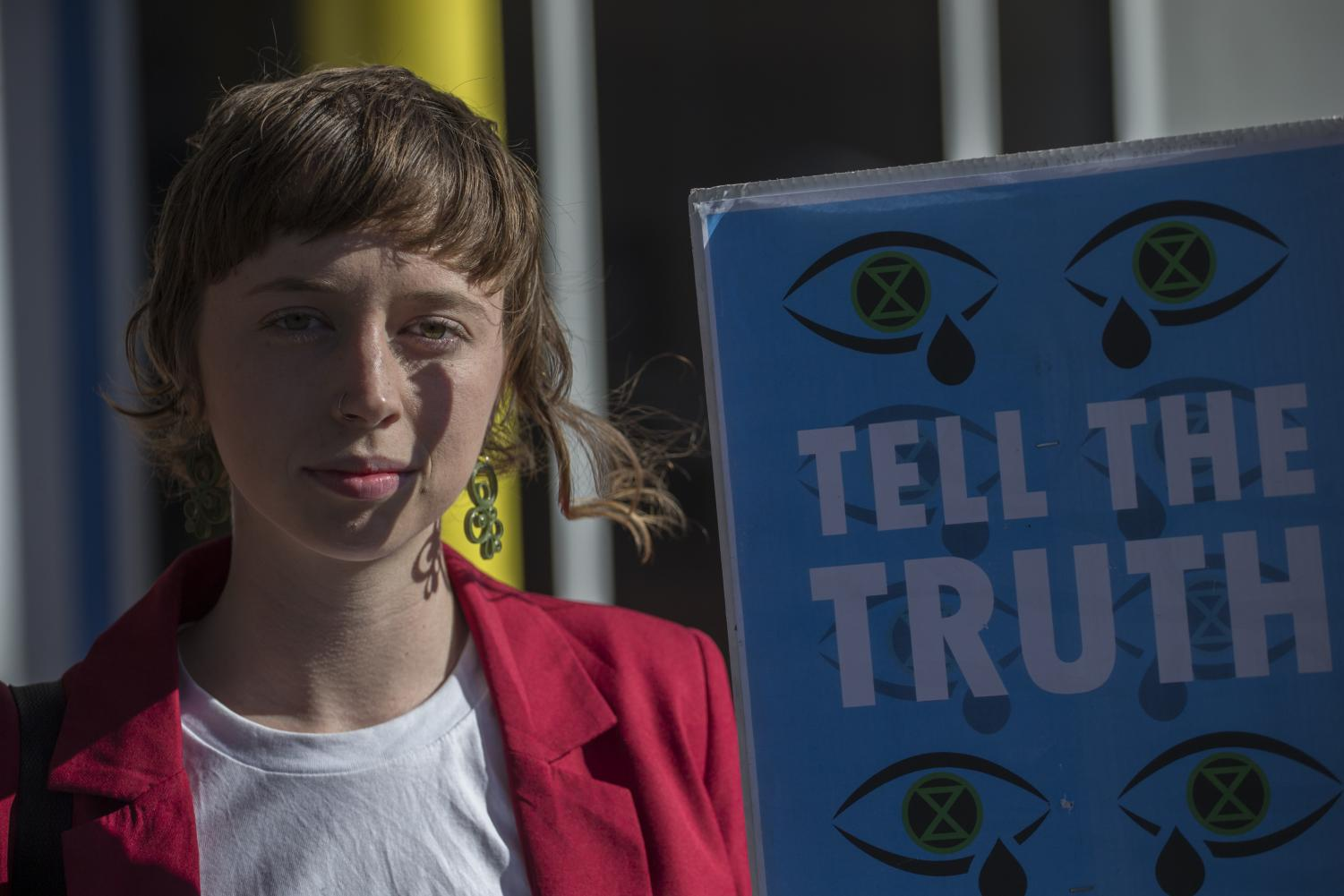 Emma Dorge, an activist who attended the Brisbane Extinction Rebellion protest in front of News Corporation offices Brisbane in late July.