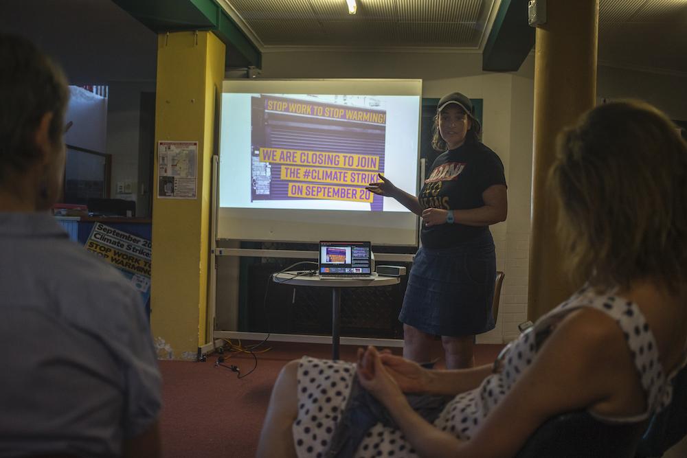 Stop Adani Ashgrove member Moira Williams addressing her local Ashgrove community members