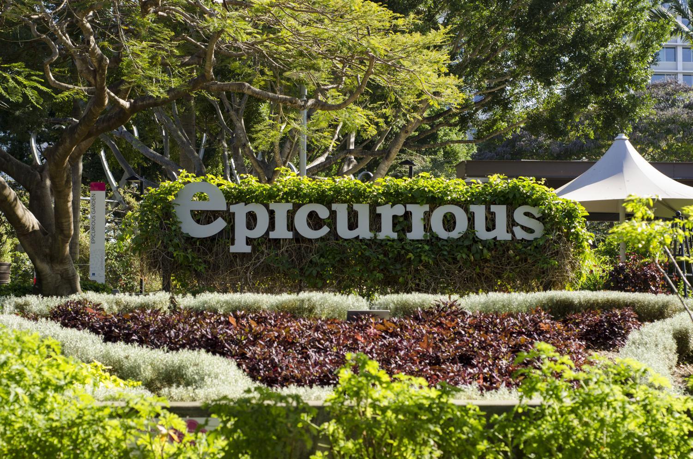The Epicurious Garden sign at Brisbane's South Bank Parklands