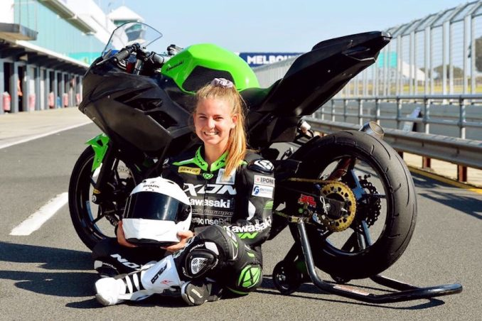 Tayla Relph has been riding motorbikes since she was three years old and turned her love of the sport into a professional racing career. Photo: Courtesy Russel Colvin