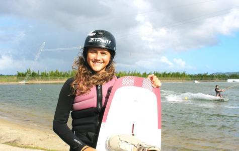 Skye Herbett is a 14-year-old Sunshine Coast wakeboarding star. Photo by Rebecca Mugridge