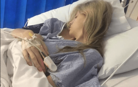 Courtney Schiffke recovers in hospital after surgery for endometriosis removal.