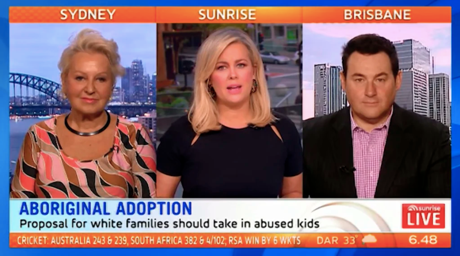 "A ""whitewashed"" Australian TV panel discussing a hot-button Indigenous issue (Screenshot: Seven Network)"