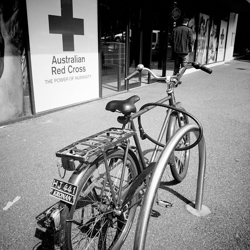 A bike outside an office of the Australian Red Cross. Photo: Christoph Hensch (CC BY-NC-ND 2.0)